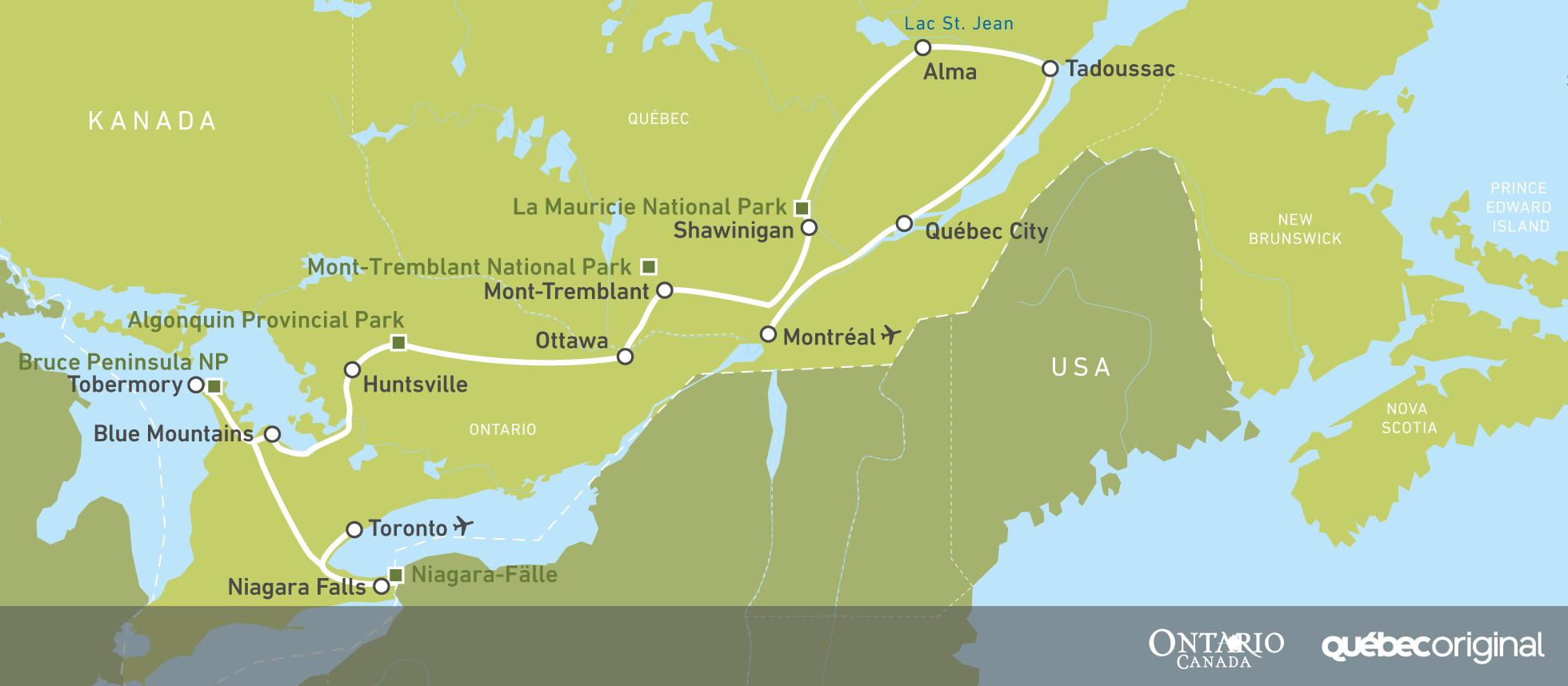 Montreal Altstadt Karte.Traumroute Fur Ihre Reise Durch Quebec Ontario Canusa