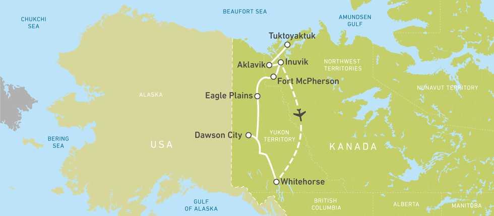 Routen von Tuktoyaktuk bwz. Inuvik bis Whitehorse