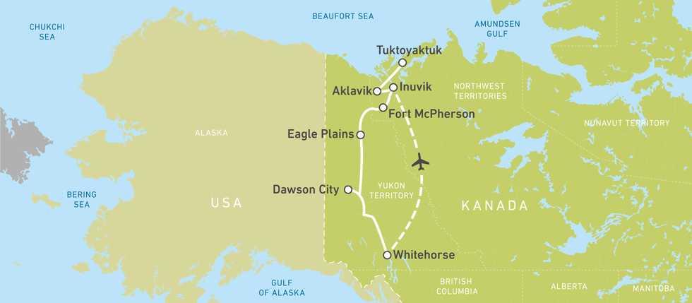 Routen von Whitehorse bis Tuktoyaktuk bwz. Inuvik