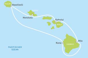 Routenvorschlag für eine Kreuzfahrt nach Hawaii