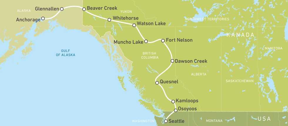 Motorradroute von Seattle bis Anchorage