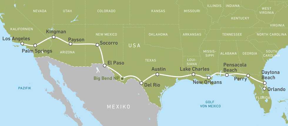 """Die Routenkarte der Motorradreise """"Coast to Coast"""" von der West- zur Ostküste der USA"""