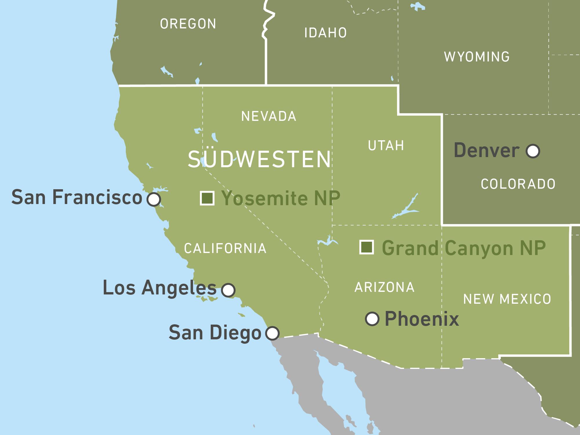 Karte Usa Westen.Individuelle Reisen Durch Den Südwesten Der Usa Buchen Canusa