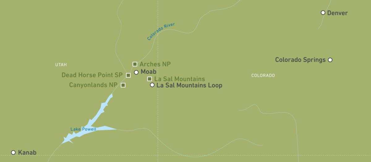 Eine Karte von der Region um Kanab und Moab