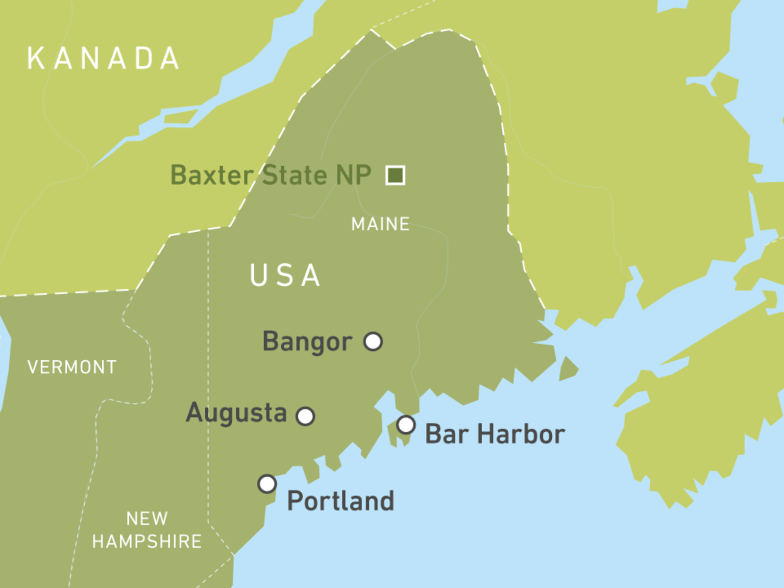 Maine Location On The US Map Maine Map Showing The Major Travel - State map of maine