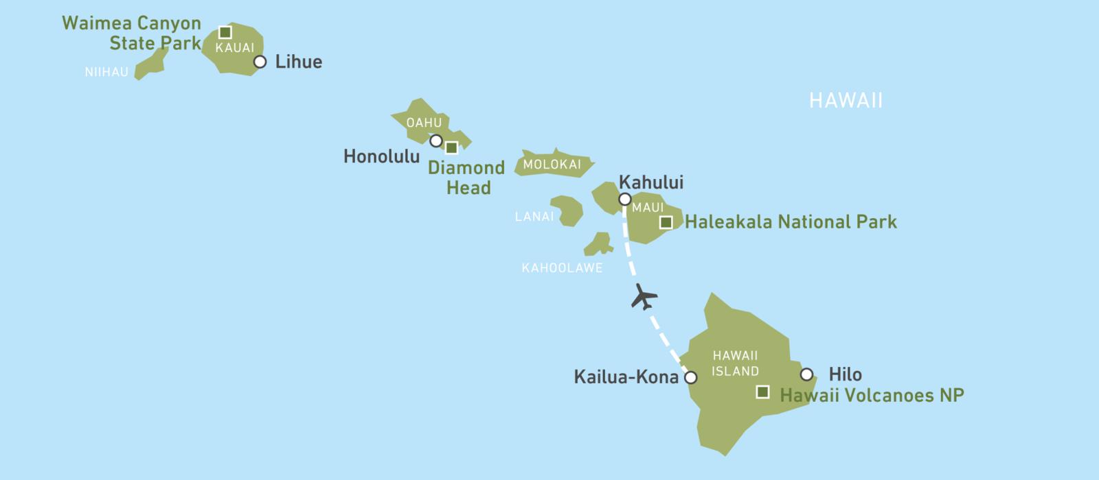 Hawaii Insel Hopping Kartenansicht