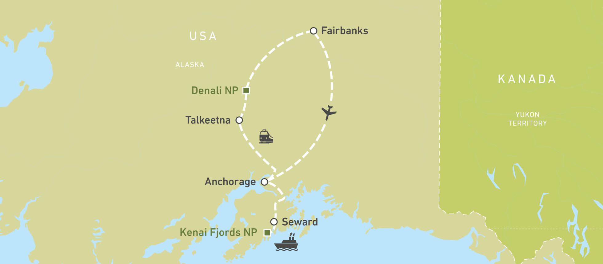 Polarkreis Alaska Karte.Alaska Mit Dem Zug Erleben Canusa