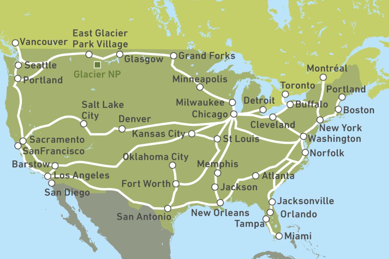 Las Vegas Karte Amerika.Amtrak Bahnreisen Durch Die Usa Canusa