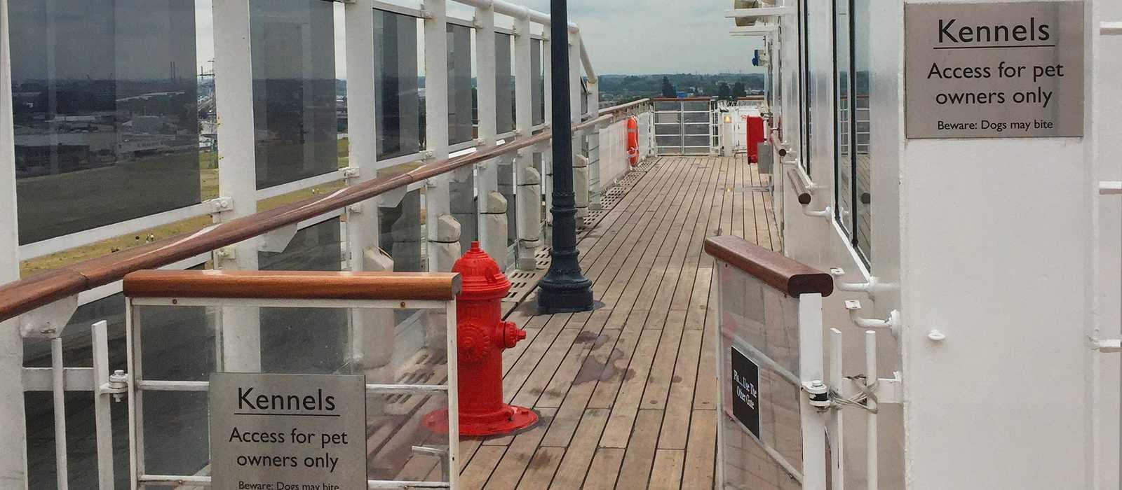 Boardwalk für Hunde auf der Queen Mary 2