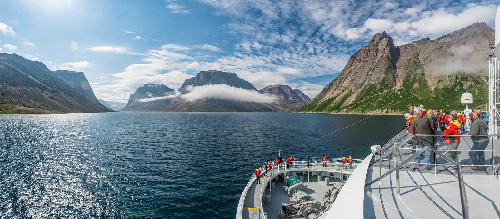 Auf Expeditionskreuzfahrt mit der MS Fram der Reederei Hurtigruten im Torngat-Mountains-Nationalpark, Neufundland