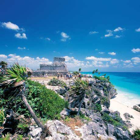 NCL Mayan Ruins on Rocky Roastline, Tulum, Quintana Roo, Mexico