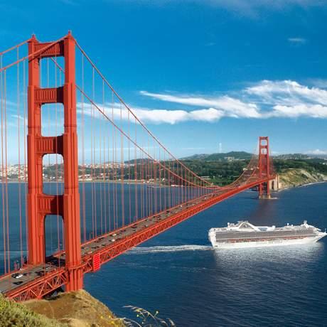 Ship sailing with Grand Princess under Golden Gate Bridge