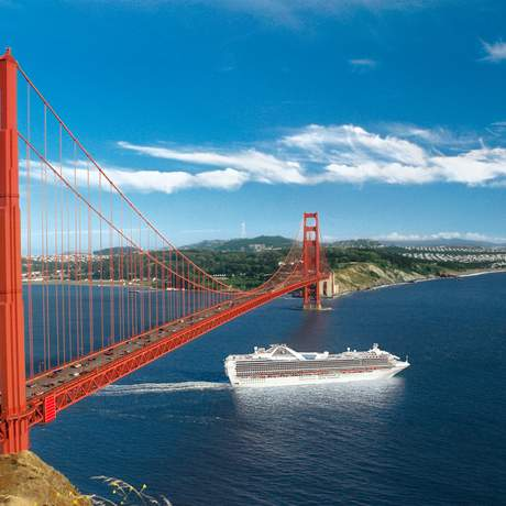 Ship sailing with Grand Princess under Golden Gate Bridge