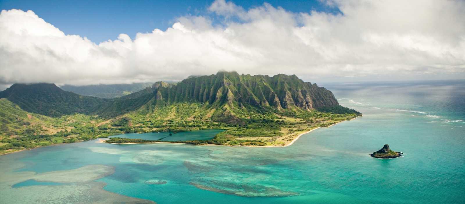 Der östliche Teil Oahus aus der Vogelperspektive
