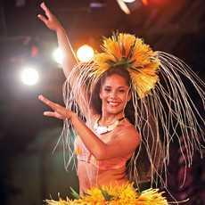 Hula-Taenzerin auf einem Luau