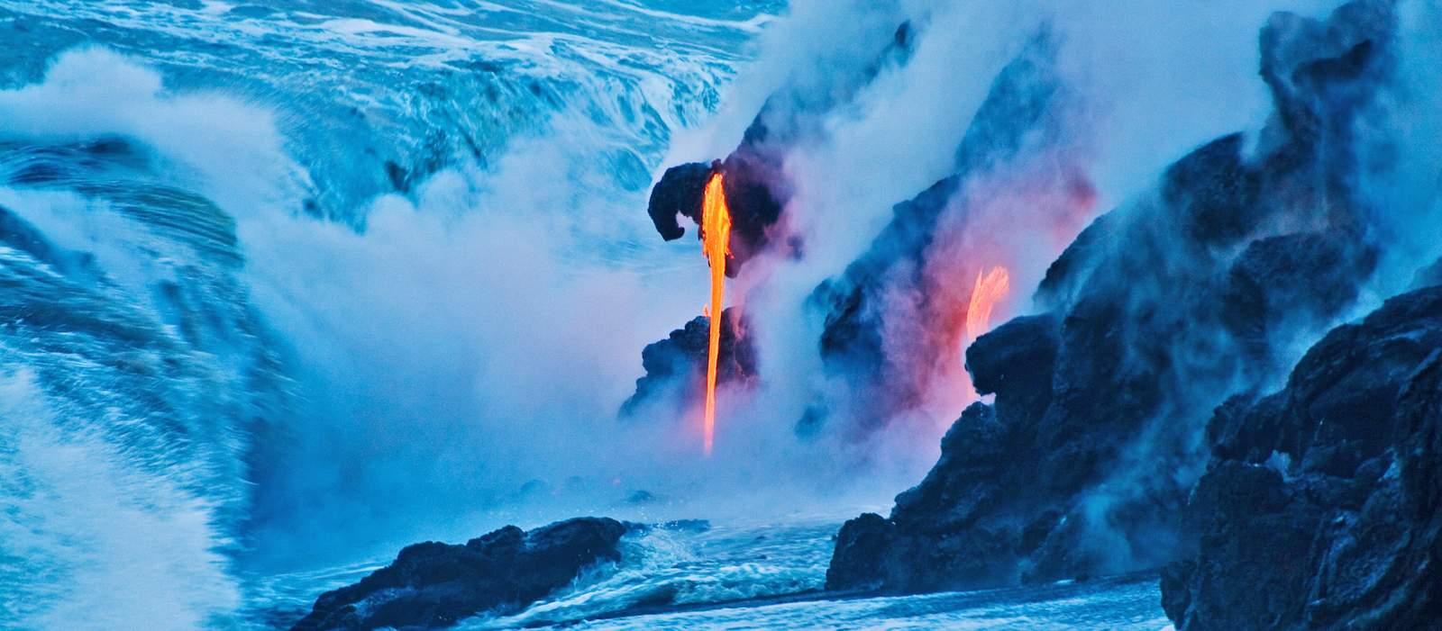 Lava trifft auf Wasser