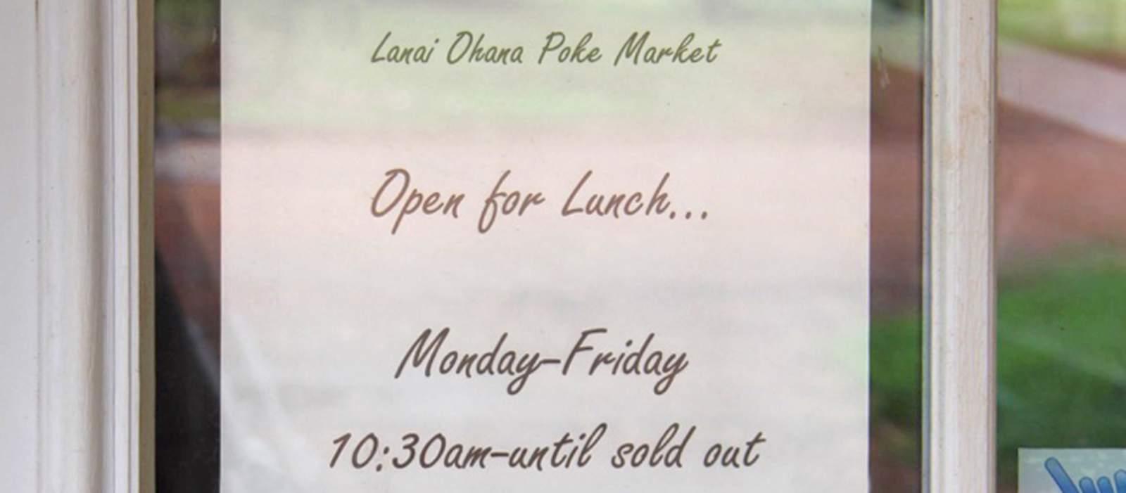 Öffnungszeiten des Lanai Ohana Poke Market