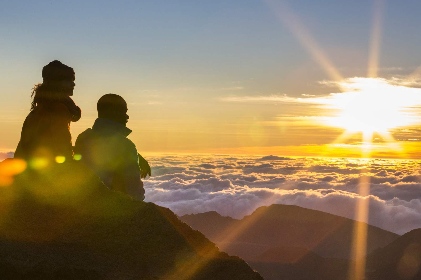 Sonnenaufgang auf dem Haleakala Krater auf Maui