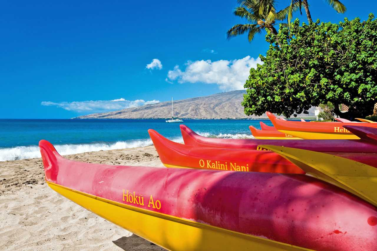 Kanus am Strand auf Maui