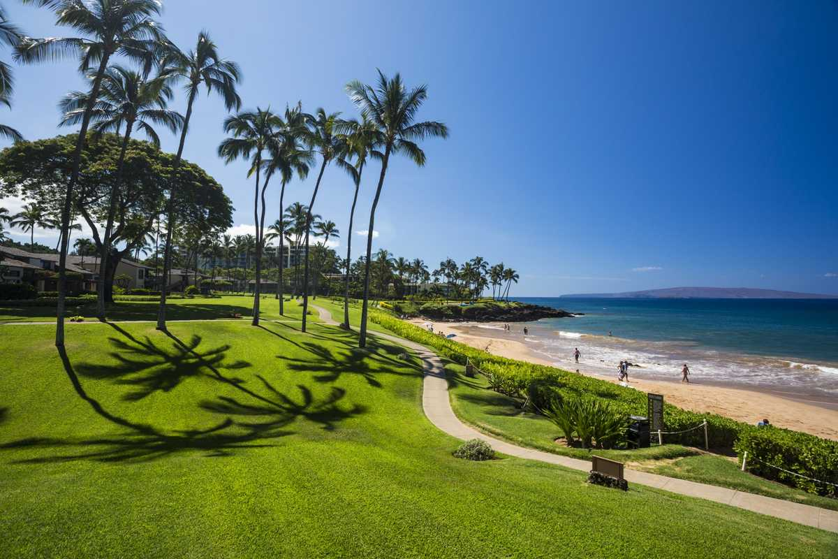 Walkway through a large lawn near South Maui beach
