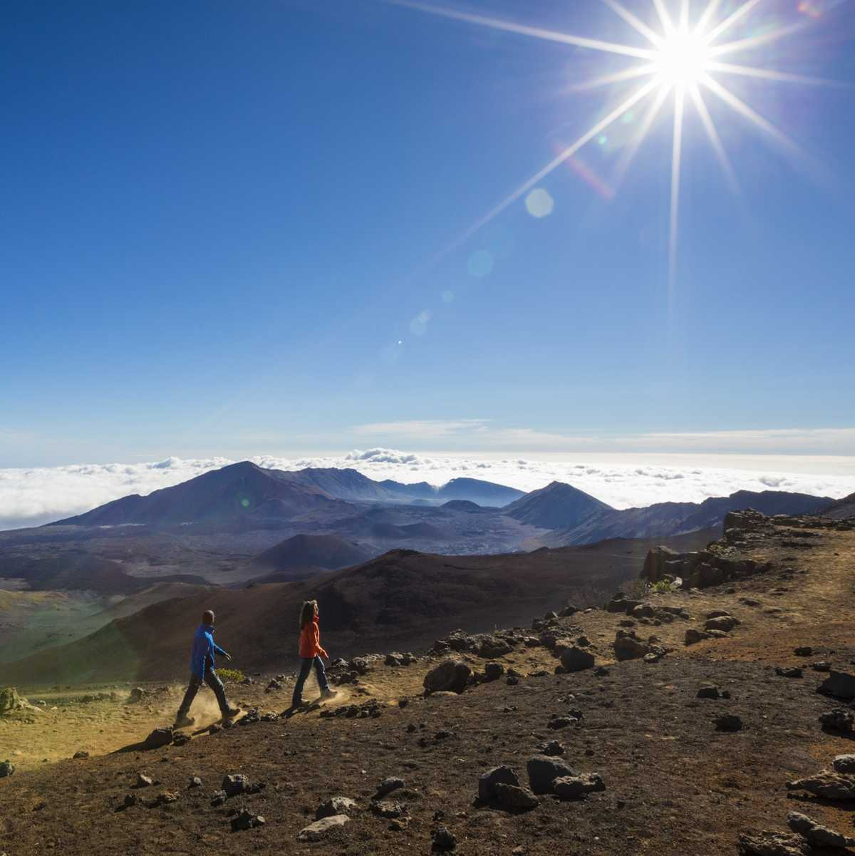 Couple hiking Haleakala Crater