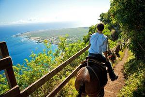 Der Blick über Kalaupapa auf Molokai in Hawaii