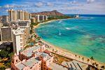 Das Waikiki Beach mit Diamond Head auf Oahu, Hawaii