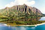 Der Blick auf die Kualo Ranch auf Oahu, Hawaii