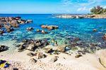 Steinige Meeresbucht auf Oahu, Hawaii