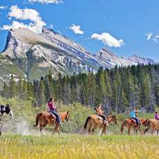 Gruppe Reiter unterwegs