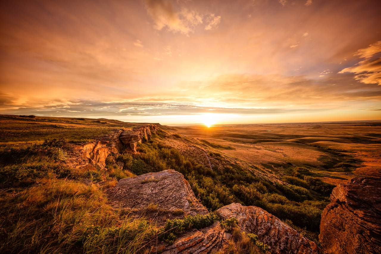 Sonnenuntergang im Head Smashed In - Buffalo Jump