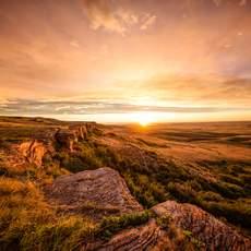 Sonnenuntergang im Head Smashed In - Buffalo Jump