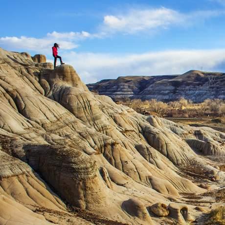 Hoodoos in den Badlands bei Drumheller, Alberta