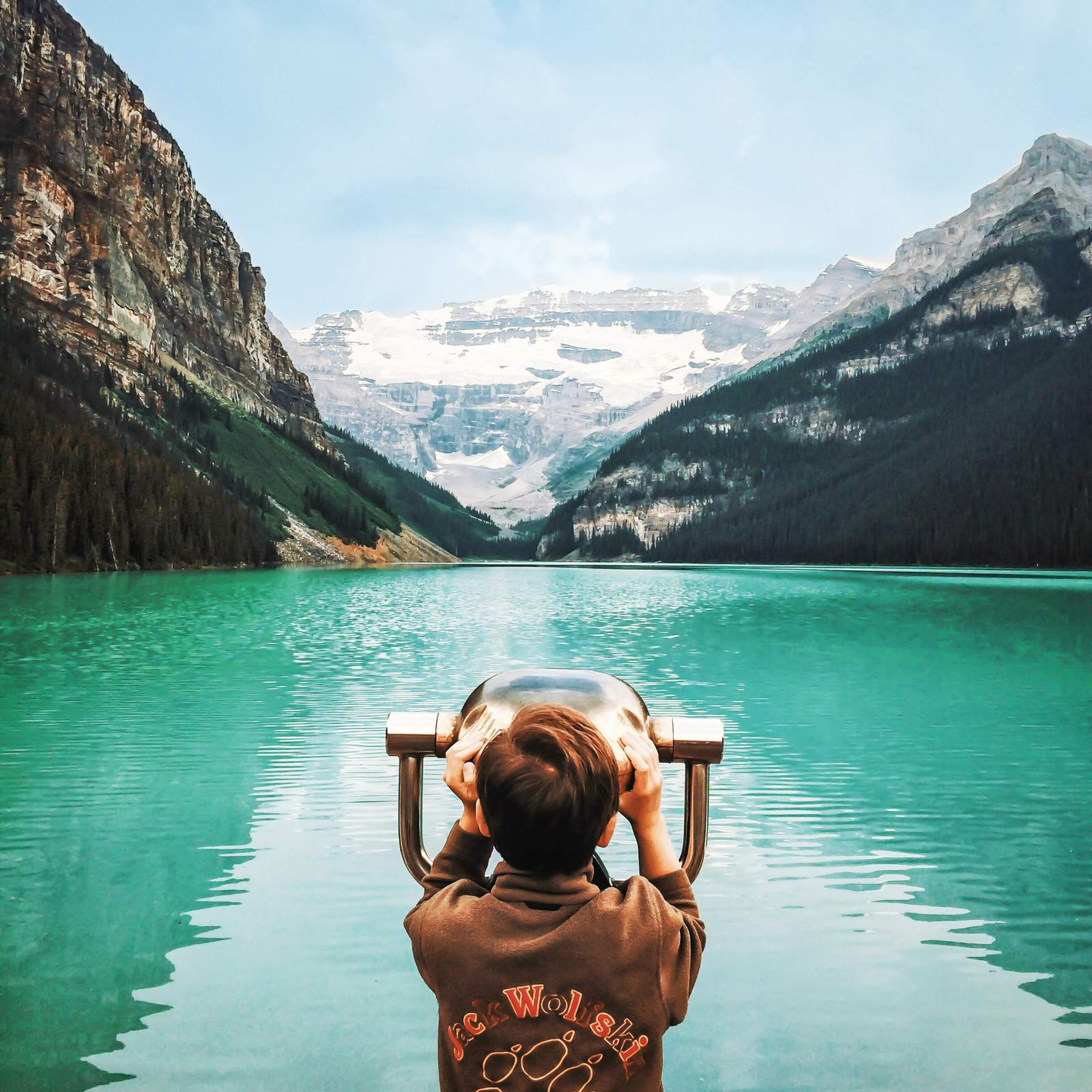 Lake Louise durchs Fernglas