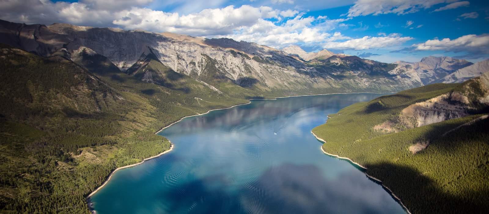 Banff National Park, Lake Minnewanka aerial