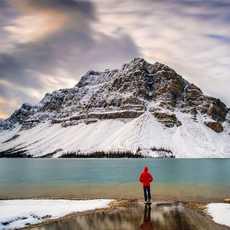 Wanderer am Bow Lake, Alberta