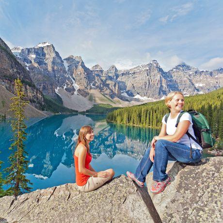 Hiking at Moraine Lake in Banff National Park, Alberta.