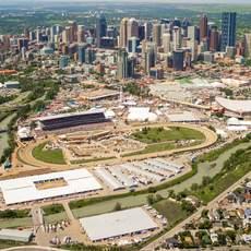 Draufsicht auf das Gelände des Calgary Stampede in Alberta
