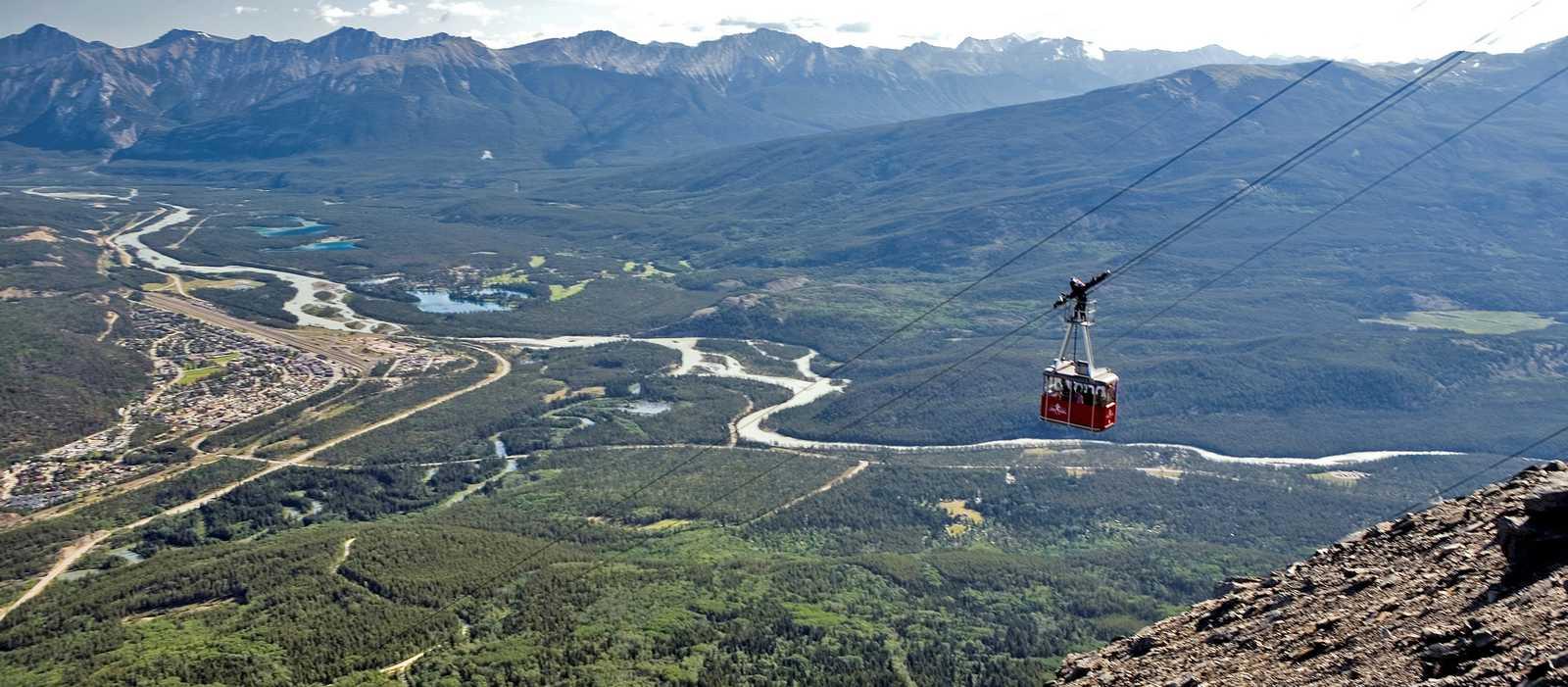 Der Weg der Jasper Skytram im Jasper Nationalpark in Alberta