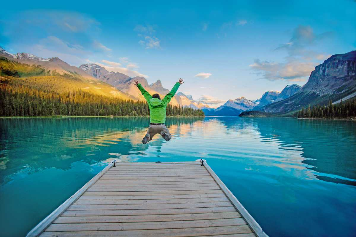 Freudensprung am Maligne lake