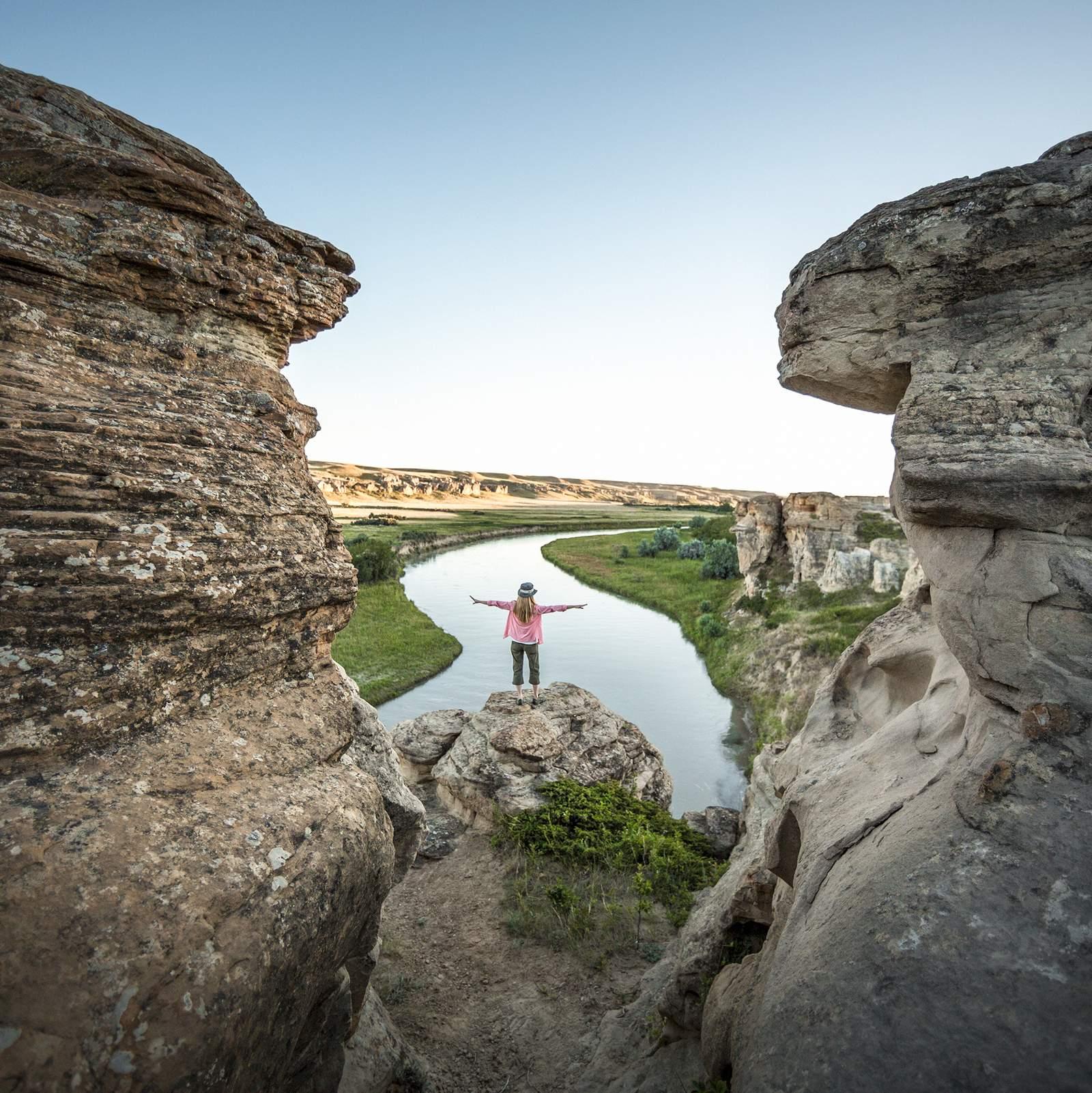 Landschaftsaussicht des Writing-on-Stone Provincial Parks