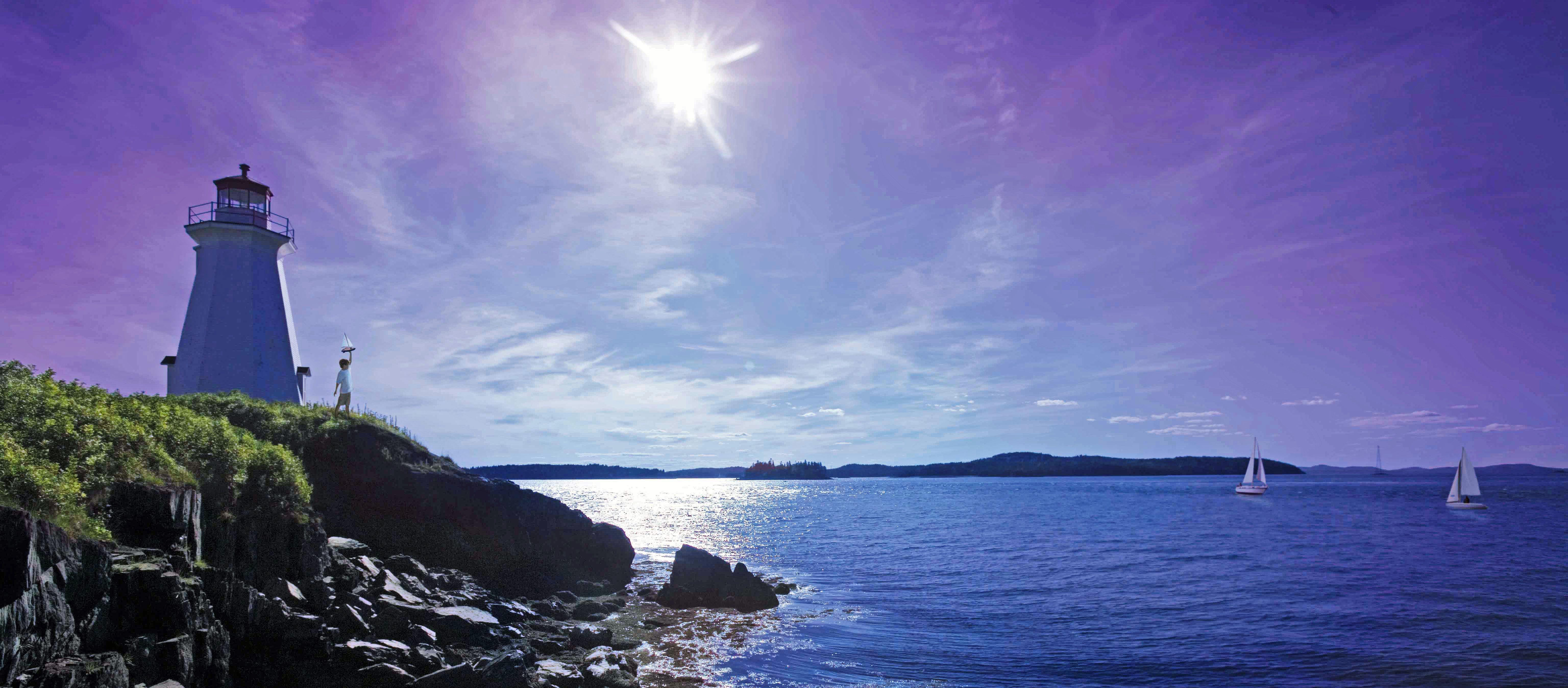 Green's Point Lighthouse an der Letete-Passage