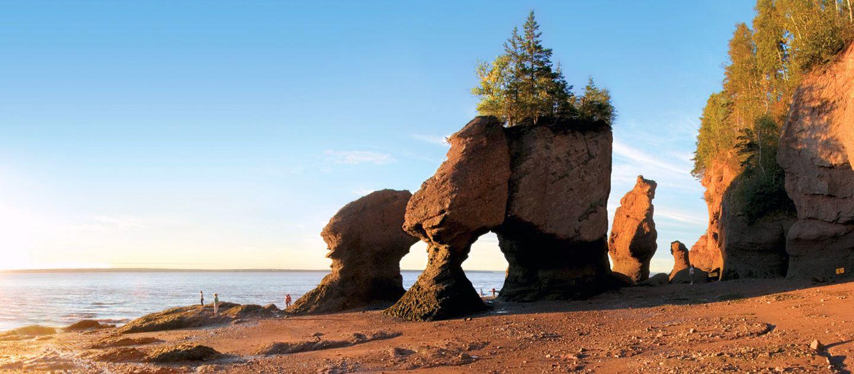 Hopewell Rocks in der Bay of Fundy bei Ebbe