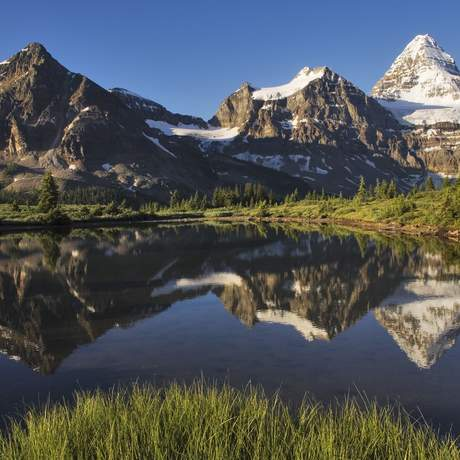 Berge spiegeln sich im Lake Mount Assiniboine-Provincial-Park, British Columbia