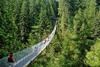 Die längste und höchste Fußgängerbrücke der Welt Capilano Suspension Bridge bei Vancouver