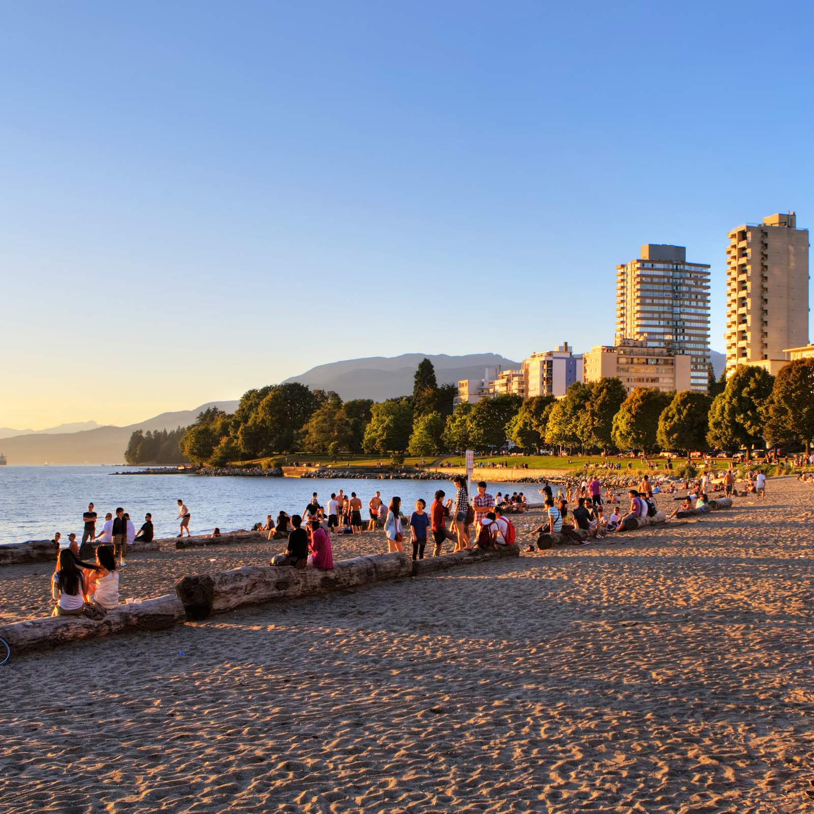 Sonnenuntergang an der English Bay in Vancouver, British Columbia
