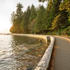 Golden Hour im Stanley Park an der Seawall in Vancouver, British Columbia