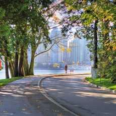 Stanley Park mit Blick auf Downtown Vancouver, British Columbia