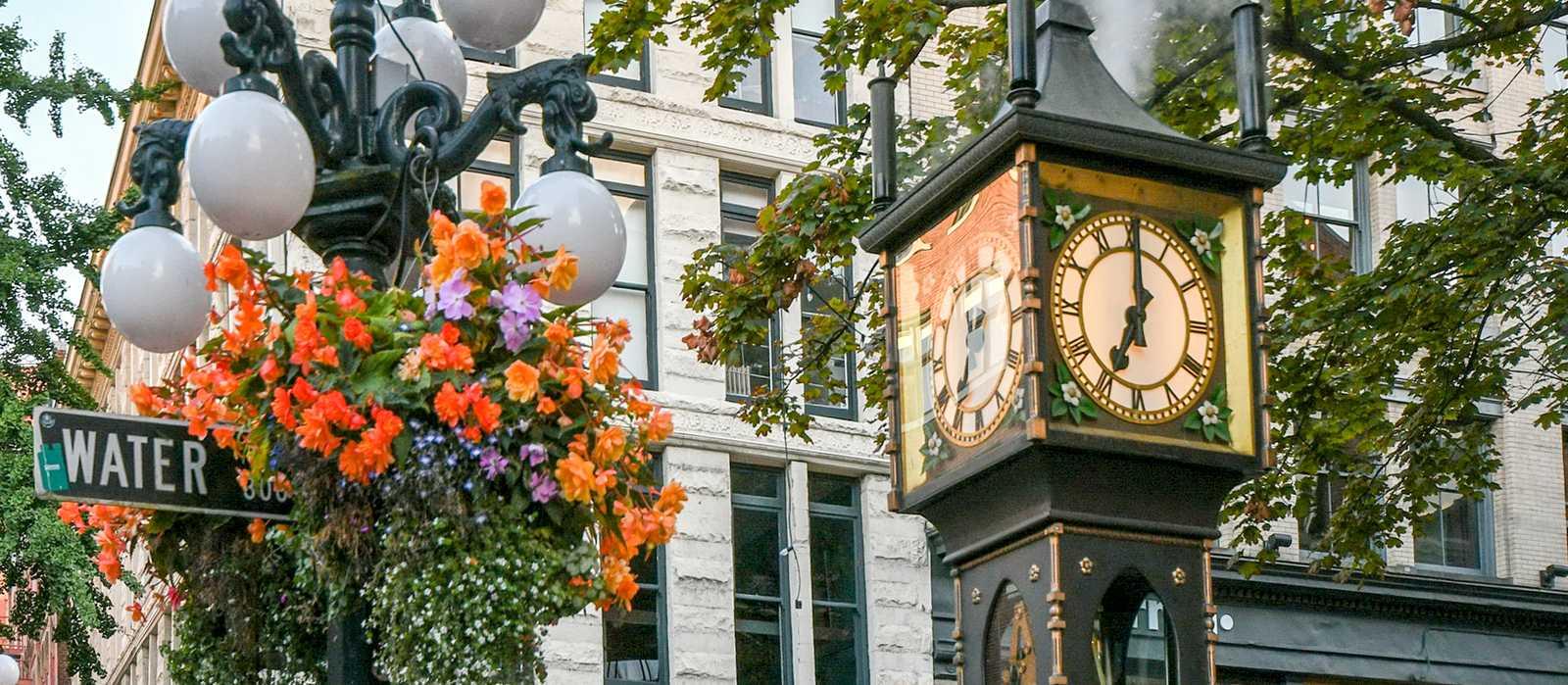 Die weltweit erste Dampfuhr im Stadtteil Gastown in Vancouver, Kanada