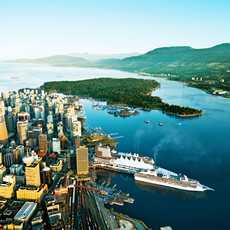 Downtown Vancouver und Stanley Park von oben, British Columbia